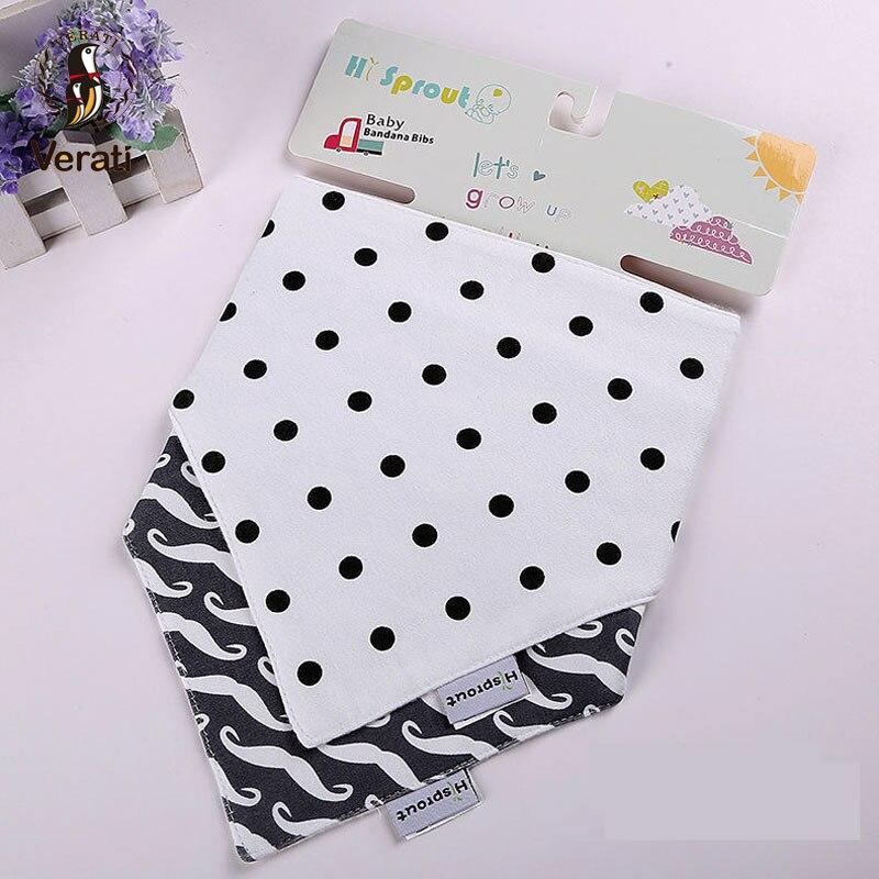 VERATI Two Pieces Cotton Double Button Bib Baby Accessories Baby Triangle Bib Saliva Towel Baby Stuff Multi-color optional