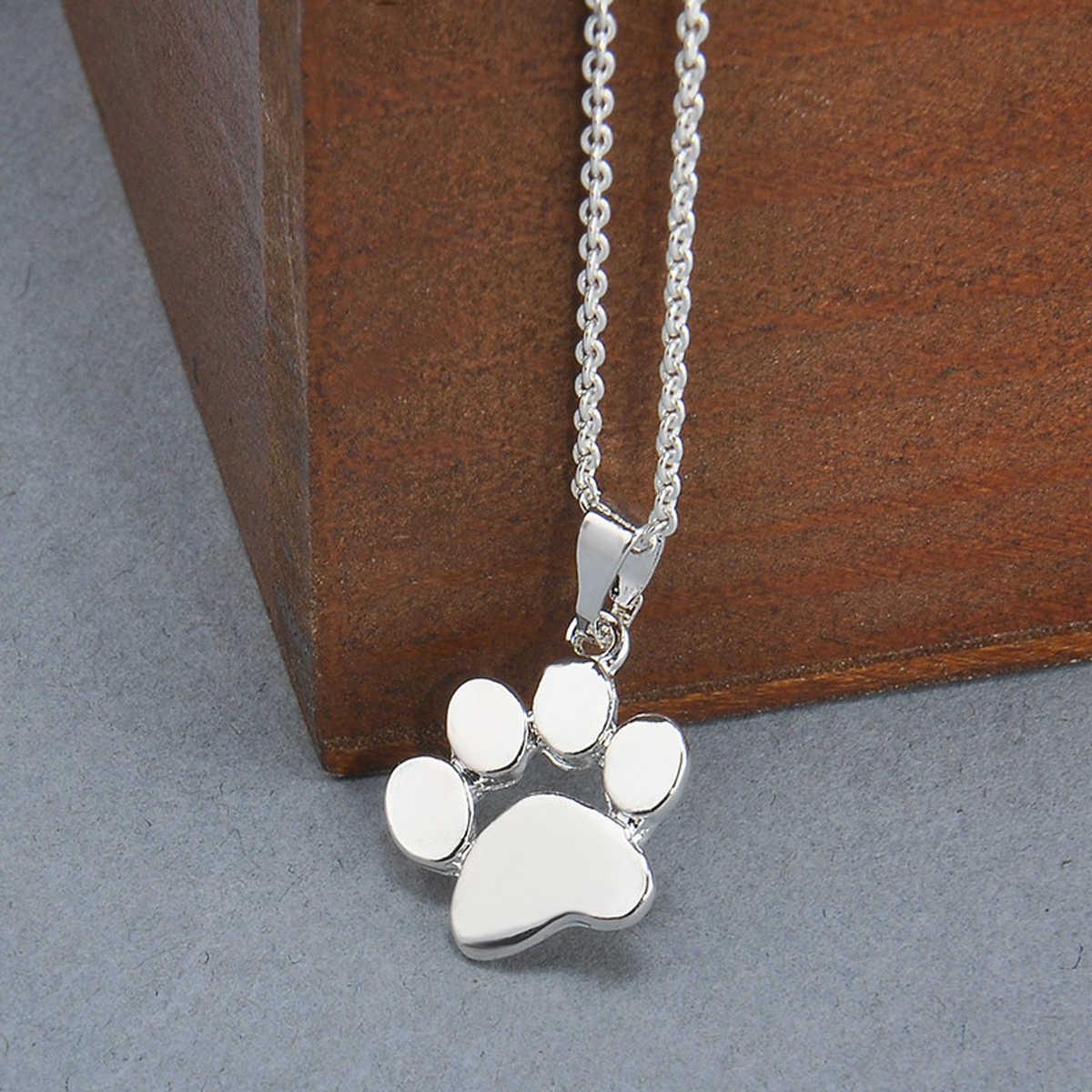 かわいい猫犬のネックレス素敵な動物あしあとネックレスペンダントシルバーゴールド猫犬足跡長鎖ネックレス女性ジュエリー