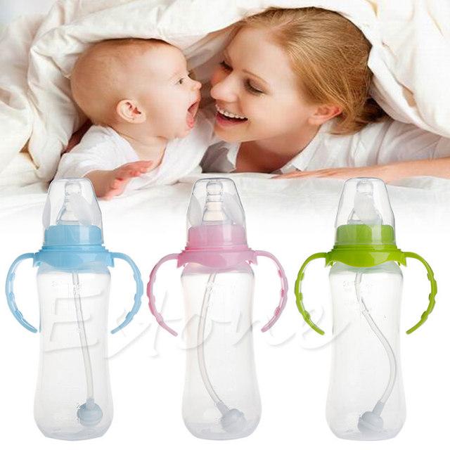 Baby Feeding Nipple Bottle with Handles