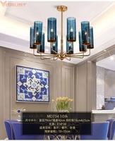 Современная люстра освещение приспособление Nordic висит лампы для мотоциклов гостиная обеденная спальня большой синий Романтический домашн