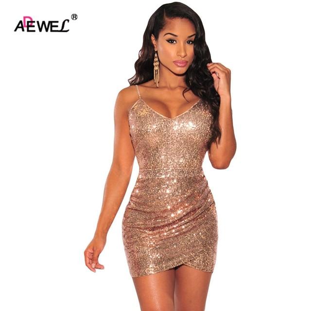 ADEWEL Sexy Gold Partei Kleid isolationsschlauchbügel abendkleid des ...
