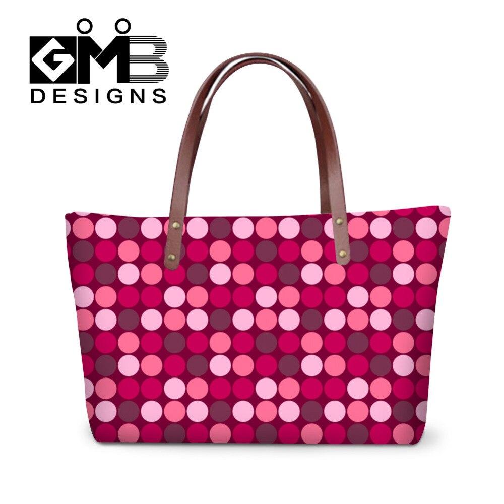 Bling Pink Dots Bolsos Casuales Mujeres Bolso de Hombro de Las Señoras Grandes
