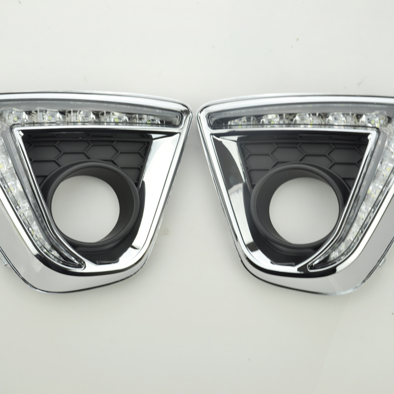 1Pair Car styling light LED DRL Daytime Running fog Lights turn signal lamp with Fog lamp hole for Mazda CX-5 2013-2015