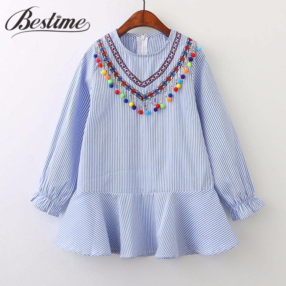 2017 Fashion Girls Clothing Autumn Girl Dress Cotton Long Sleeve Children Dress Striped Balls Tassels Kids Dresses for Girls fashion 2016 new autumn girls dress cartoon kids dresses long sleeve princess girl clothes for 2 7y children party striped dress