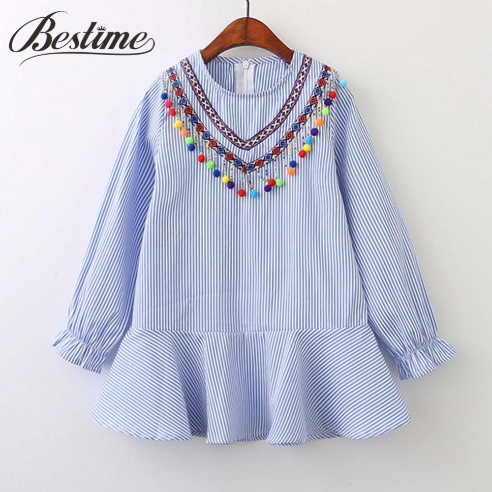 2018 Autumn Girl Dress Cotton Long Sleeve Children Dress Striped Balls Tassels Kids Dresses for Girls Fashion Girls Clothing