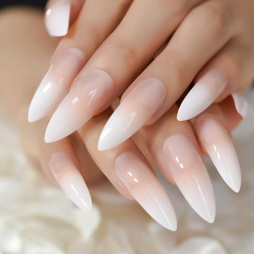 Gradeint натуральный телесный розовый стилет искусственные ногти Омбре французский Экстра длинный острый салон нажмите на ногти с uv-фильтром советы