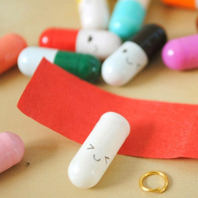 50pcs Love Blank Message Capsule Envelope Letter Paper For Children Pill Capsule Message Letter Kawaii Emoticon Smile Pill