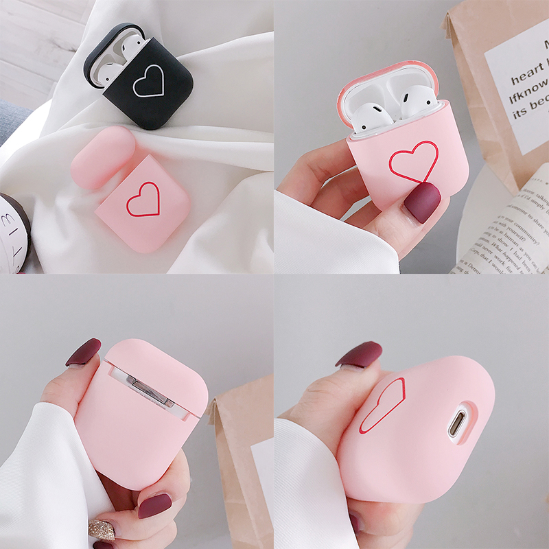 Fashion Cute Heart Couples Case For Airpods Case Hard PC Wireless Bluetooth Earphone Case Cover For Air Pods Earphone Accessorie