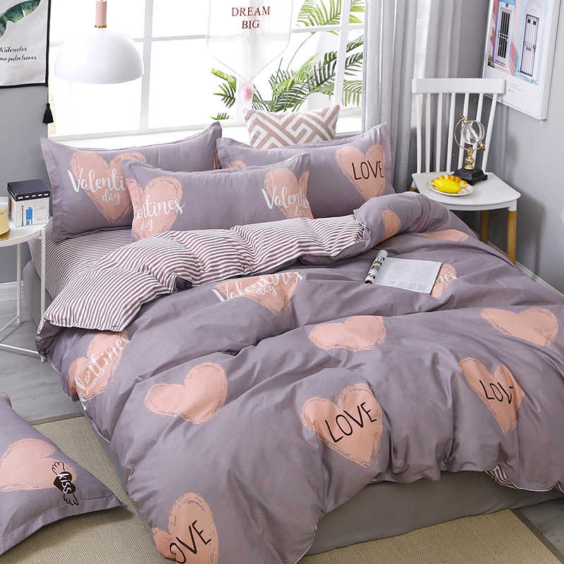 "3/4pcs High Quality ""LOVE"" Heart Printing Textile Bedding Set Include Duvet Cover&Sheets&Pillowcases Comfortable Home Bed Set"