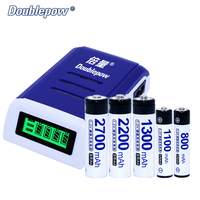 4 Slots Doublepow DP K209 LCD Intelligent Charger In 4 Universal Plugs Plus 1 2V AA