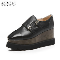 XiuNingYan Oxfords Chaussures pour Femmes Plate-Forme Lace Up Mode Oxfords Creepers femmes Chaussures Casual Dames Appartements Chaussures Noir 2017