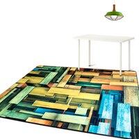 Gökkuşağı Geometri Renk Blok Sanatlar Halı Kanepe Yatak Sandalye Yan büyük Alan Kilim Absorben Antiskid Kapı Paspaslar, Modern Ev Deco