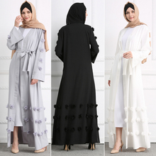 Muslim Eid Abaya Kaftan Dubai Islamic Dress Cardigan Appliques Party Women Prayer Long Robe