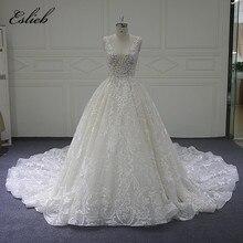 Eslieb заказ свадебное платье 2018 новые Кепки рукавом Line Vestido de Noiva Сексуальная V шеи Свадебные платья