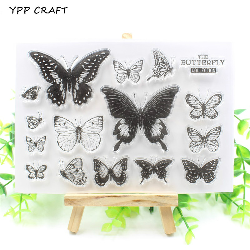 YPP CRAFT Butterflies Transparent Clear Silicone Stamp/Seal for DIY scrapbooking/photo album Decorative clear stamp christmas holiday wishes clear silicone rubber stamp for diy scrapbooking photo album decorative craft clear stamp chapter