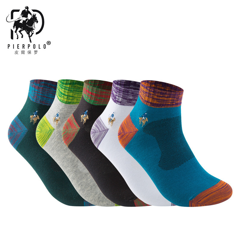 PIERPOLO Brand Socks High Quality 5Pairs/lot Men Cotton Socks CoolMax Men's Socks Breathable Embroidery Long Socks Calcetines