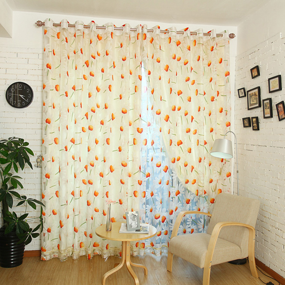 1Pcs Flowers Print Sheer Curtain Bay Window Screening Balcony For Kitchen  Living Room Chiffon Curtain(