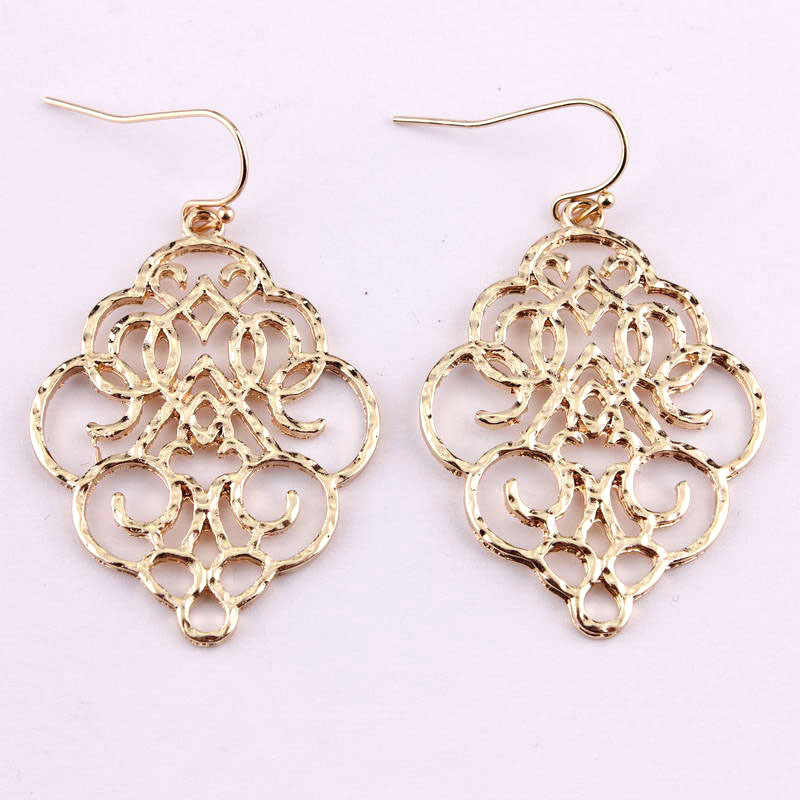 New Vintage Bohemian Gold Filigree Moroccan Statement Dangle Drop Earrings For Women 2019 Simple Fashion Jewelry Earrings