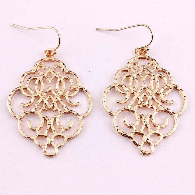 859acf7efb2 US $1.99 |New Vintage Bohemian Gold Filigree Moroccan Statement Dangle Drop  Earrings For Women 2019 Simple Fashion Jewelry Earrings -in Drop Earrings  ...