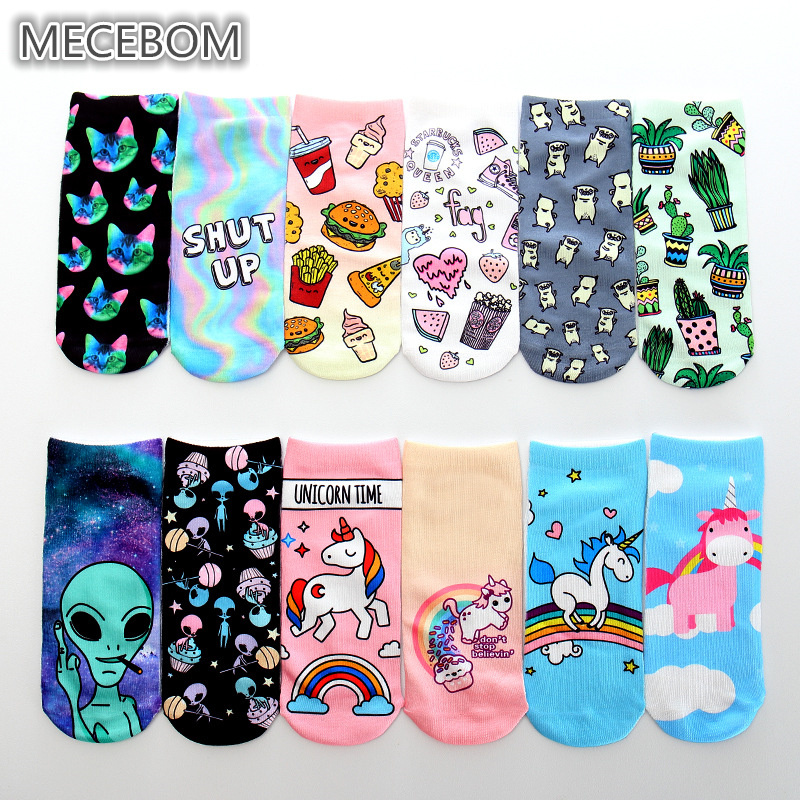 Trend Cute 3D Print   Socks   Women Ankle   Socks   Chaussette Aliens Animal Unicorn 3D Printing   Sock   Art   Socks   for female k8