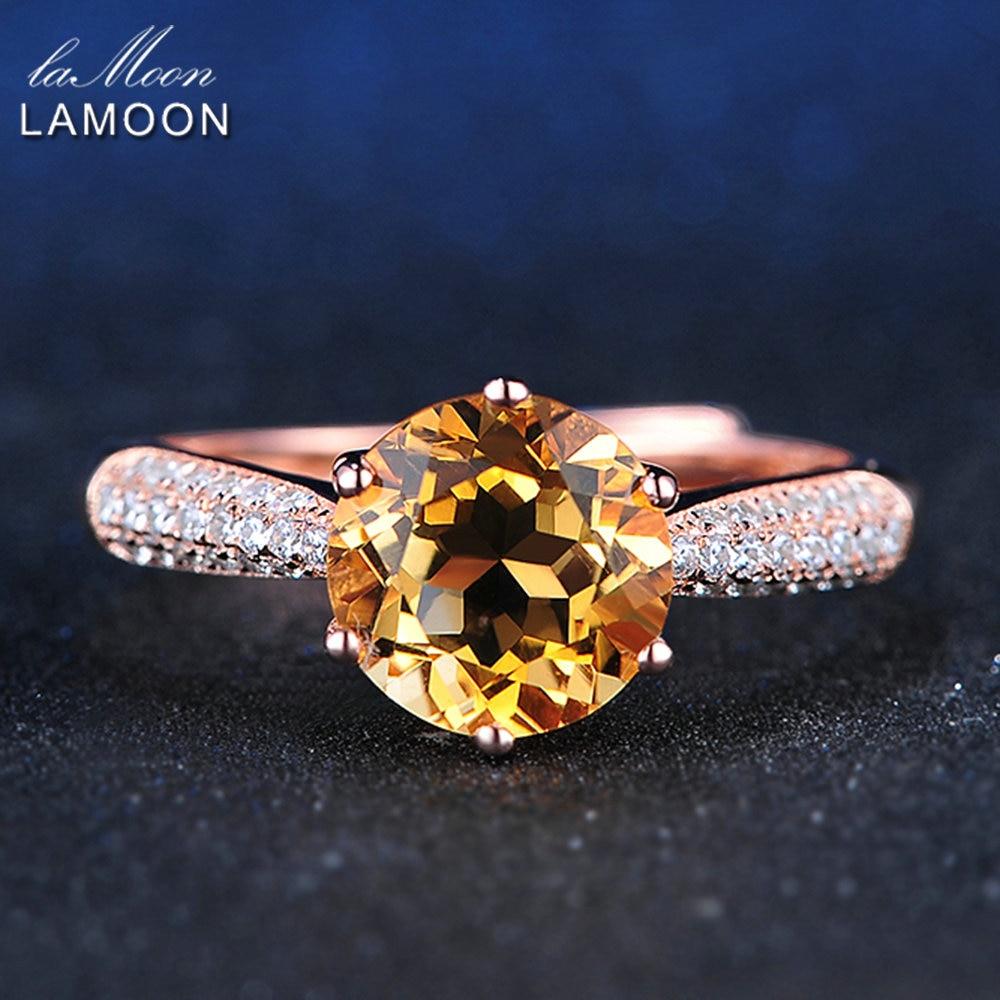 LAMOON 925 Sterling Silver Ring Citrine Gemstone Luxury Designer JewelryFor Women Jewelry Rose Gold Plated Fine Jewelry LMRI001