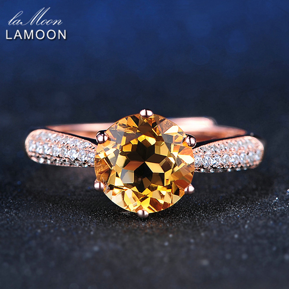 LAMOON Luxury Pave Setting 8mm 2ct Citrine 925 Sterling Silver Jewelry Wedding Ring with Rose Gold