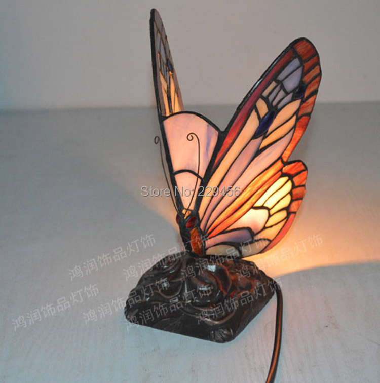 Бабочка Форма пятнистости Стекло настольная лампа Тиффани Гостиная ночники Декор E27 110-240 В