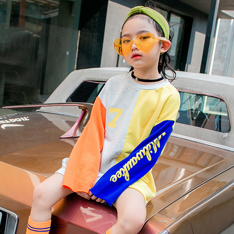 Teenager, Color, Long, Contrast, T-shirts, Fashion