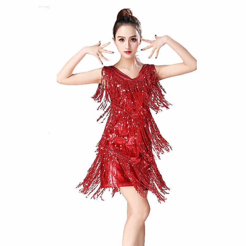 1debc8d02 ... 2019 latin dance skirt women costume Lady Latin Dance Dress Samba Tango  irregular fringe Dress For