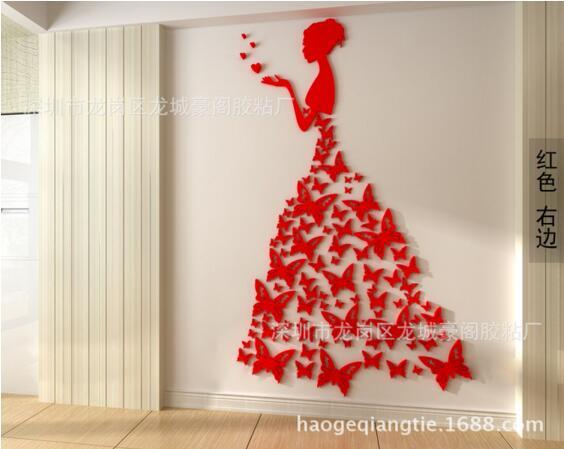 Bricolage romantique papillon robe de mariée 3D cristal stéréo stickers muraux filles chambre décoration salon stickers muraux décor à la maison - 4