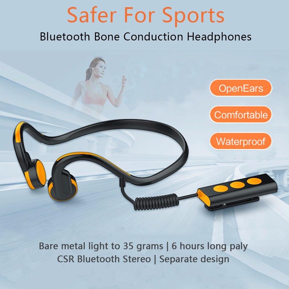 Bluetooth Sports Headphones Lapel Clip Bone Conduction Earphone with Microphone Bilateral Stereo Music Waterproof Headsets цена и фото