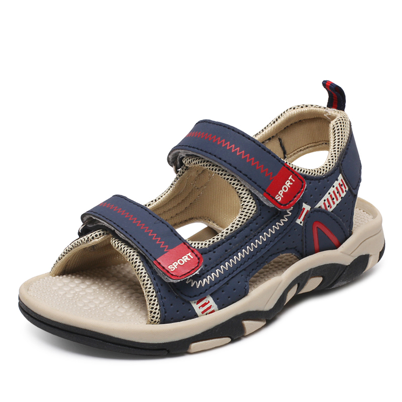 Лето 2017 г. обувь для детей Открытый Обувь для мальчиков спортивные Сандалии для девочек с открытым носком детские пляжные сандалии Модные дышащие кожаные туфли для Обувь для мальчиков tx83