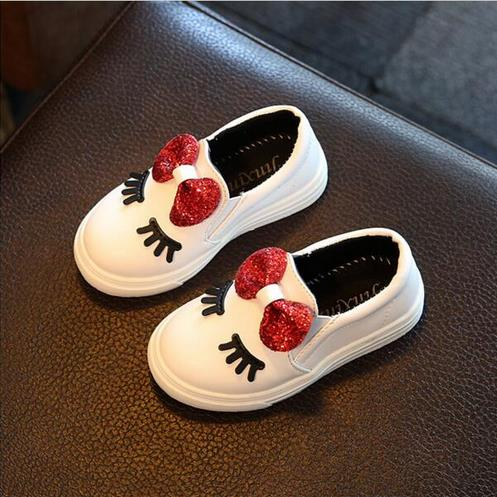 Girls sneakers spring 2018 new toddler children's baby white bowknot glitter casual soft flat ...