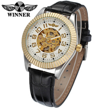 New Winner Casual Automatic Watches Men Hot sale silver Automatic fashion Men Watch leather strap Shipping