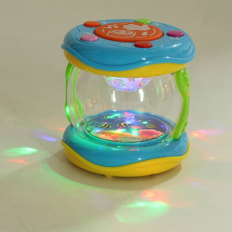 Zebra New Arrival 9x9.5cm Roll Drum Music Instruments Colorful Music Drum Kids Children Baby LED Toy