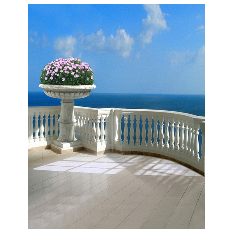0.9x1.5m Computer Printed Fabric Vinyl Thin Photo Studio Props Photography Backdrops Blue Seaside Beach Sky Clouds Theme Vinta