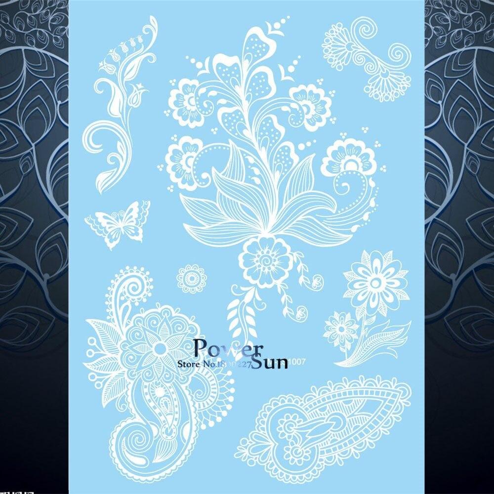 1pc Women Wedding Body Art Temporary Tattoo White Flower Mehndi