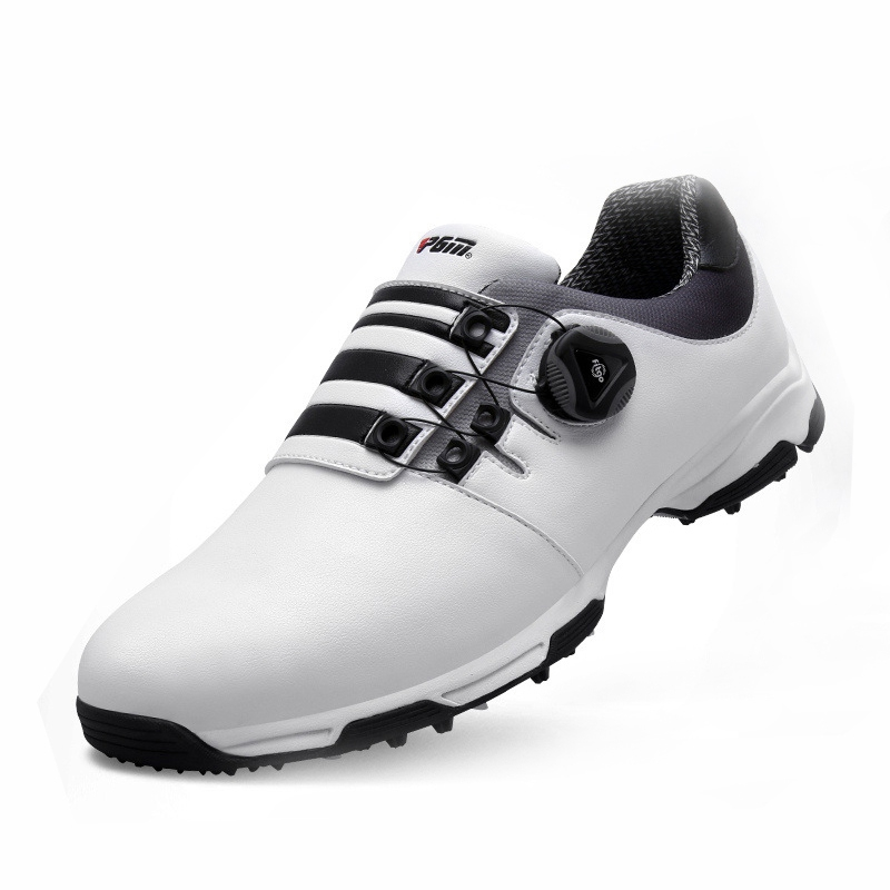 Golf Shoes Men Waterproof Breathable Golf Shoes Men Knobs Buckle Slip Resistant Sports Shoes Outdoor Shockproof Sneakers Male autumn golf shoes women s breathable single shoes ultra light slip resistant waterproof shock absorption sports light golf shoes