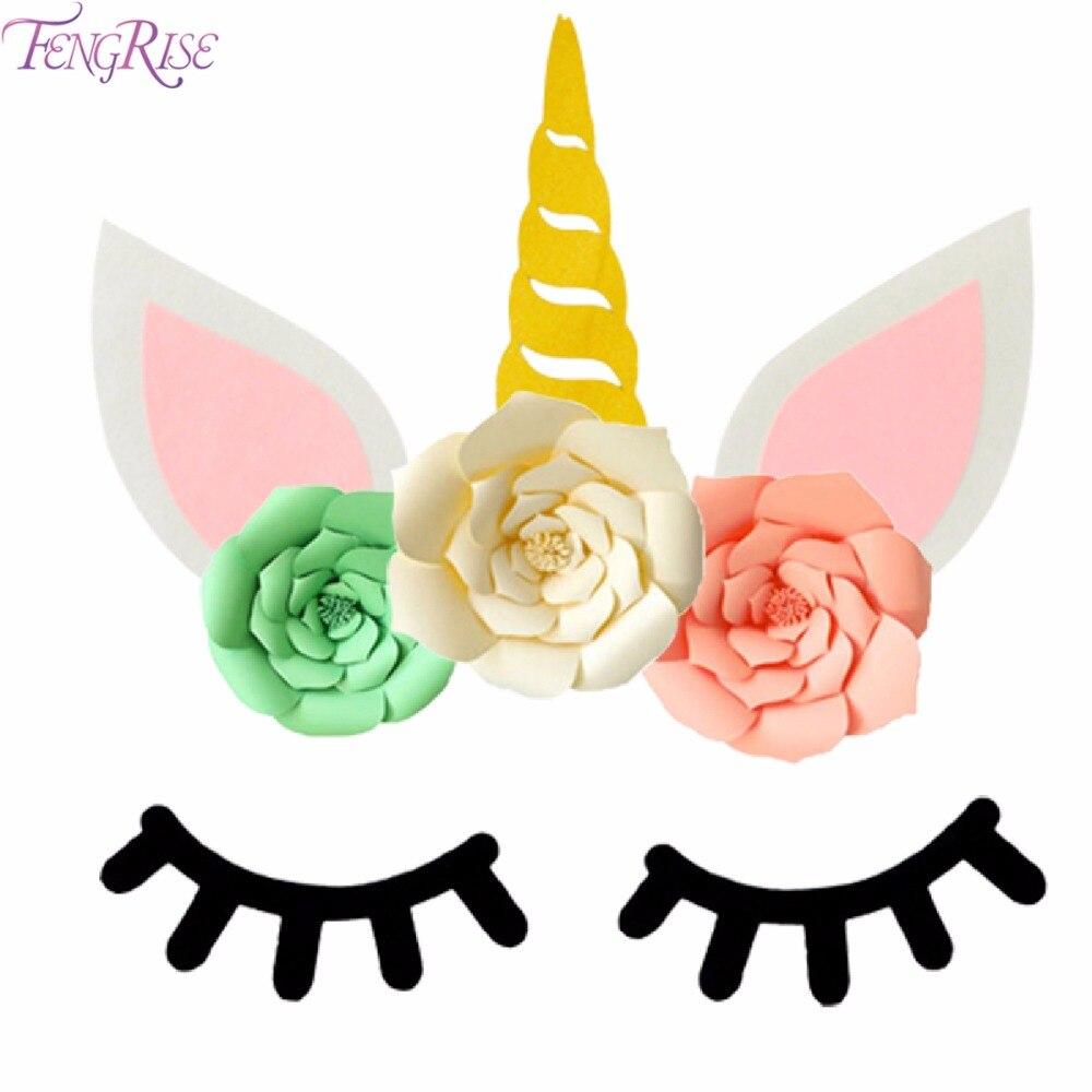FENGRISE Sleepy Unicorn Eyelash Stickers Birthday Party Room Decor for kids Unicorn Party Decor Birthday Baby Shower Supplies