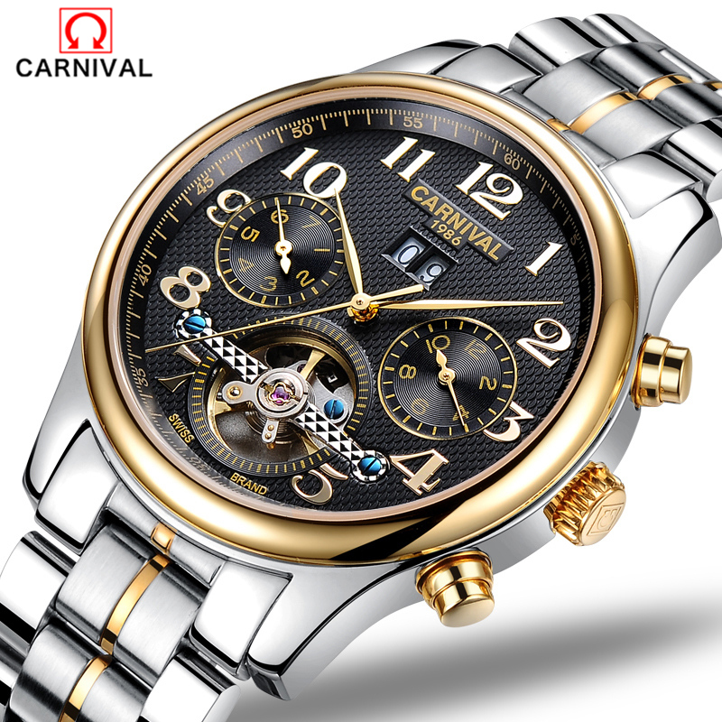 2018 Carnival business waterproof watch male table Tourbillon watches men automatic mechanical watch hollow steel men's fashion the new genuine automatic mechanical male watch belt men s watches male waterproof fashion business leisure watch