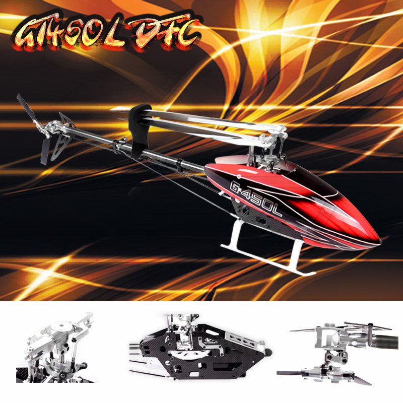 Freeshipping Gartt 450L DFC TT Version 2.4GHz 6CH RC Helicopter Kit Fits Align Trex 450 pro dfc tail boom mount torque tube front drive gear set for trex 450 helicopter
