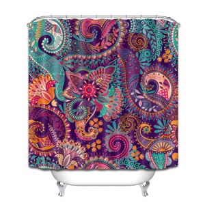 Image 3 - ההודי מנדלה פרחוני מקלחת וילונות פרח פריחת פייזלי בוהמי אמבטיה וילון עמיד למים בד עבור אמנות אמבטיה דקור