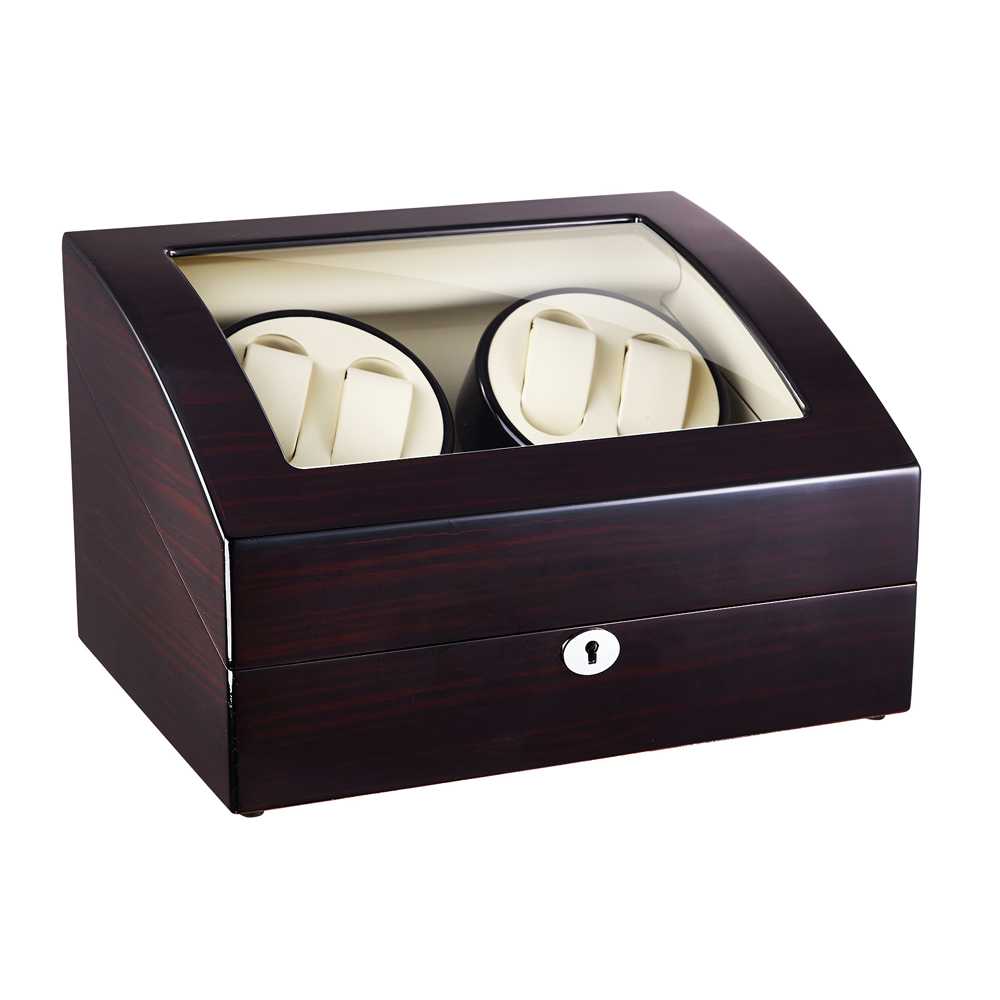 Watch Winder ,LT Wooden Automatic Rotation 4+6 Watch Winder Storage Case Display Box (Outside is rose black and inside is white) 2016 latest luxury 5 modes german motor watch winder yellow spray paint wooden white pu leater inside automatic watch winder