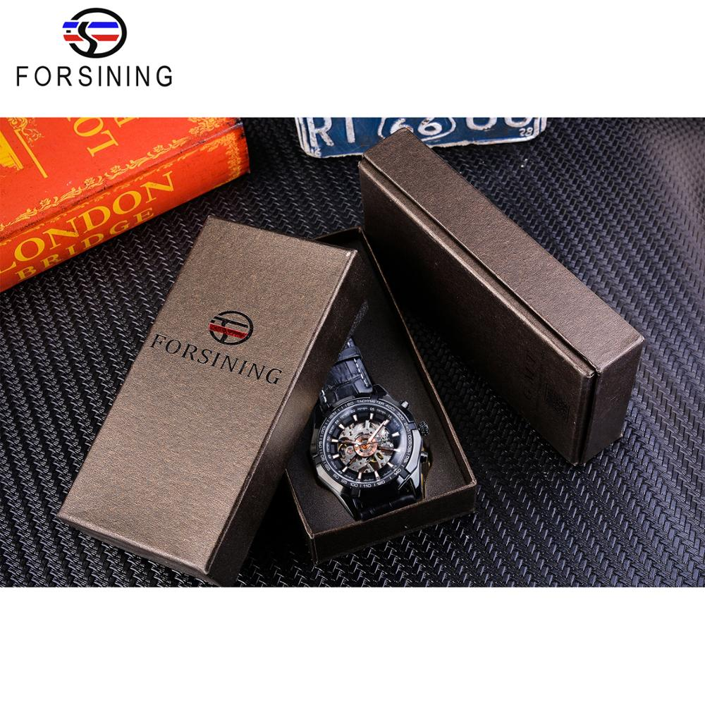 Forsining 2019 Luxury Brand Mens Watch Hollow Skeleton Mechanical Watches Clock Black Genuine Leather Sports Wristwatch Relogio in Mechanical Watches from Watches