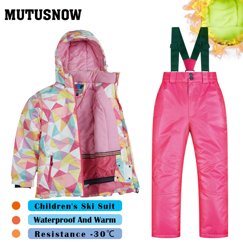 Ski Suit Children's Brands Windproof Waterproof Snow Jacket+Pants Warm Child Winter Thicken Kids Snowboard Suit Girls And Boys
