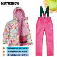 Ski Suit Children's Brands Windproof Waterproof Snow Jacket+Pants Warm Child Winter Thicken Kids Snowboard Suit Girls And Boys