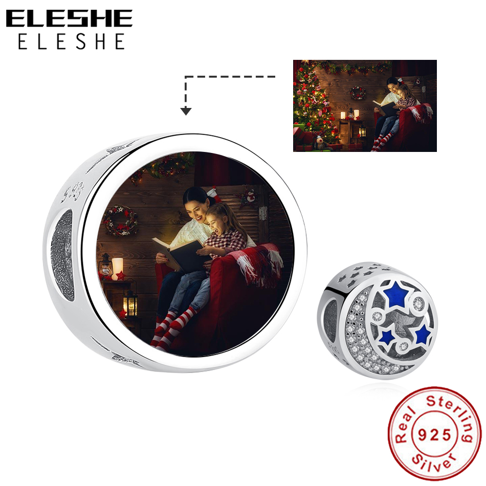 Pure 925 Sterling Silver Custom Photo Charm Crystal Moon Blue Star Beads Fit Original Charm Bracelet Women DIY Making JewelryPure 925 Sterling Silver Custom Photo Charm Crystal Moon Blue Star Beads Fit Original Charm Bracelet Women DIY Making Jewelry