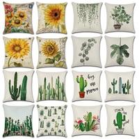 Boreal Europe Tropical Plants Sunflower Flowers Linen Cushion Cover Pillows Cover Case for Sofa Home Decorative 45X45cm 4Pcs/Lot