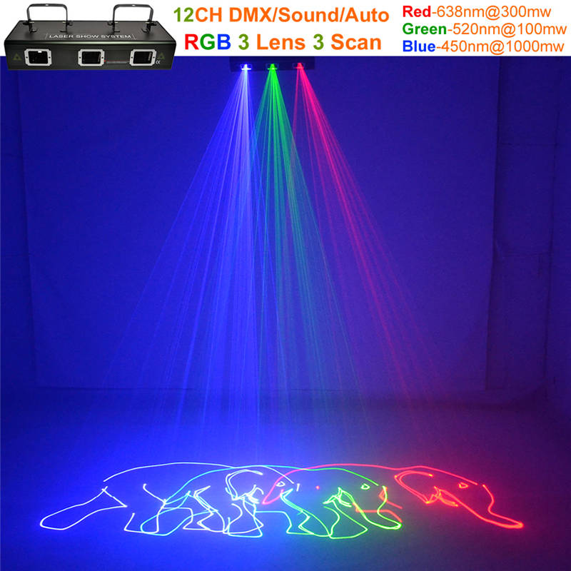 все цены на AUCD 3 Lens 1.4W RGB Red Green Blue Animation Scan Beam Laser Lights 12 CH DMX PRO DJ Party KTV Bar Show Stage Lighting DJ-503