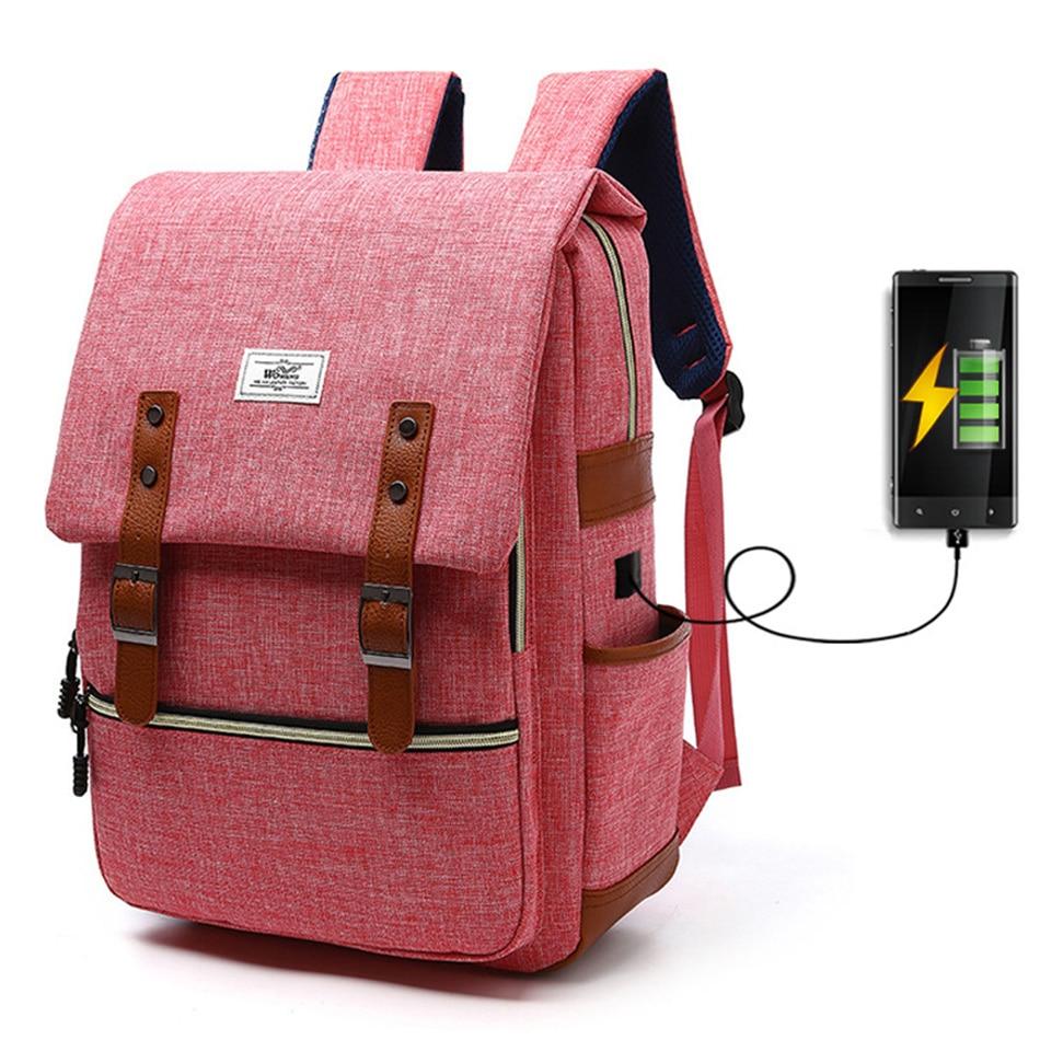 2018 Vintage Men Women Canvas Backpacks School Bags for Teenager Boys Girls Laptop Backpack with USB Charging Fashion Travel Bag (5)